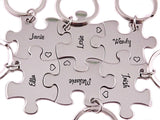 Puzzle Piece Keychains Sterling Silver - Engraved Puzzle Piece Keychain - My Boho Jewelry