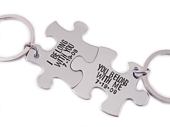 I Belong With You, You Belong With Me Puzzle Piece Set of 2 - Engraved Stainless Steel - Couple Puzzle Piece Set - Puzzle Key Chain - 1232 - My Boho Jewelry