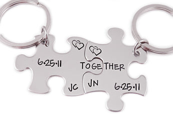 Personalized Together Keychain Date Puzzle Piece Set of 2 - Engraved Key Chain - Couple Gift Set - Anniversary Gift - Best Friends - 1077 - My Boho Jewelry