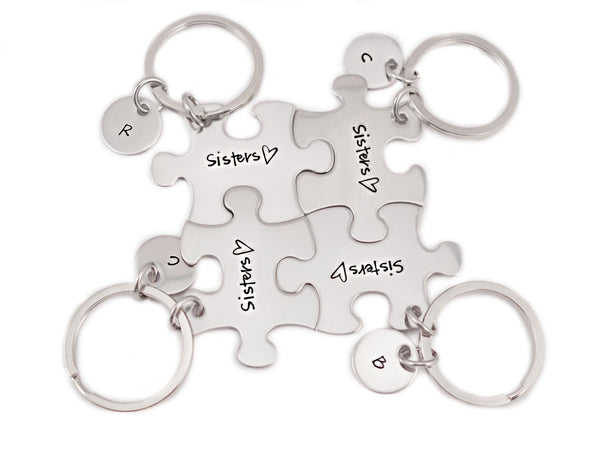Personalized Sisters Puzzle Piece Keychain Set - Engraved Stainless Steel - Sister Gift Set - Bridesmaids - Sister Gift - Sister- 1074 - My Boho Jewelry