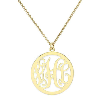 "Initials Monogram necklace - 1"" any initial Gold monogram necklace in 18k yellow gold plated 925 sterling silver - My Boho Jewelry"