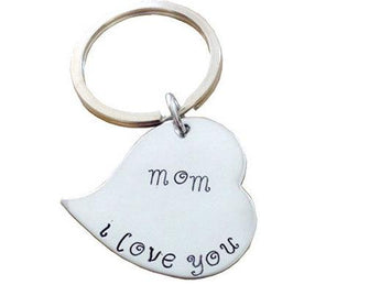 Personalized Heart Keychain- Hand Stamped KeyRing - Gift for Mother's - Key chain heart - My Boho Jewelry