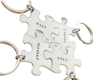 Key chain puzzle piece -Sterling Silver - Hand stamped metal key chain - Mother's Custom Key ring SET OF 4 - My Boho Jewelry