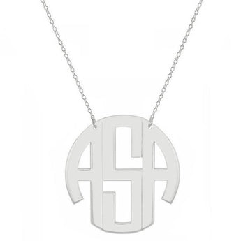 Block monogram necklace - 1.25 inch 3 initials silver monogram necklace in 925 sterling silver - My Boho Jewelry