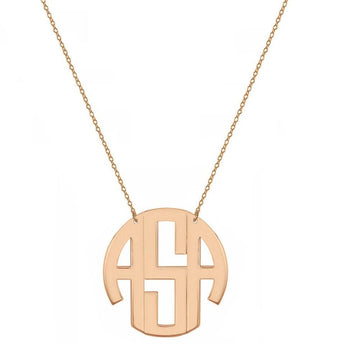 Block monogram necklace - 3/4 inch 3 initials rose gold monogram necklace in 18k rose gold plated 925 sterling silver - My Boho Jewelry
