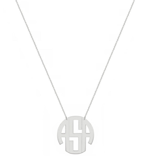 Block monogram necklace - 1/2 inch 3 initials silver monogram necklace in 925 sterling silver - My Boho Jewelry