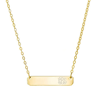Engravable Gold Bar Necklace 1 inch Pendant tiny side initial in 18k Yellow Gold Plated 925 Sterling Silver - My Boho Jewelry