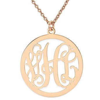 "Initials monogram necklace - 1.25"" any initial rose gold monogram necklace in 18k rose gold plated 925 sterling silver - My Boho Jewelry"