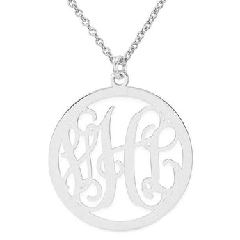 "Initials monogram necklace - 1.25"" any initial silver monogram necklace in 925 sterling silver - My Boho Jewelry"