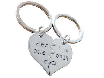 Her one , His only - Sterling Silver Broken heart Keychain Set - Couple Key Chain Gift - My Boho Jewelry