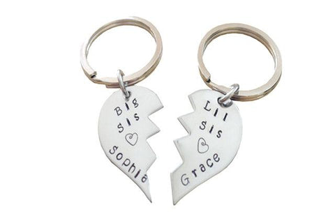 Sterling Silver Big Sis Lil Sis Hand stamped Zig - Zag Broken Hearts Keychains - Handstamped Best Friends Heart Key Chains - Two Pieces - My Boho Jewelry