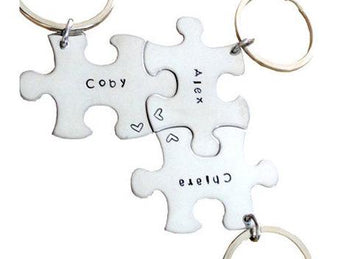 Key chain puzzle piece - Personalized Key chain - Sterling Silver - Hand stamped metal key chain - Mother's Custom Key ring SET OF 3 - My Boho Jewelry