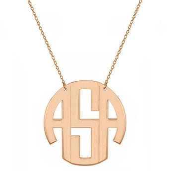 Block monogram necklace - 1.25 inch 3 initials rose gold monogram necklace in 18k rose gold plated 925 sterling silver - My Boho Jewelry