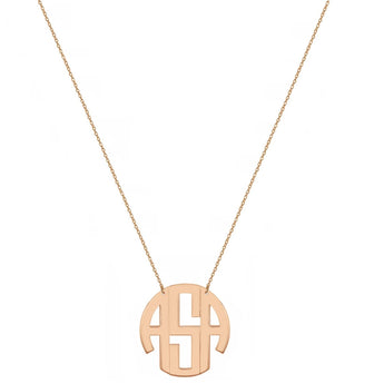 Block monogram necklace - 1/2 inch 3 initials rose gold monogram necklace in 18k rose gold plated 925 sterling silver - My Boho Jewelry