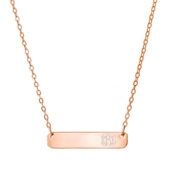 Engravable Rose Gold Bar Necklace 1 inch Pendant tiny side initial in 18k Rose Gold Plated 925 Sterling Silver - My Boho Jewelry