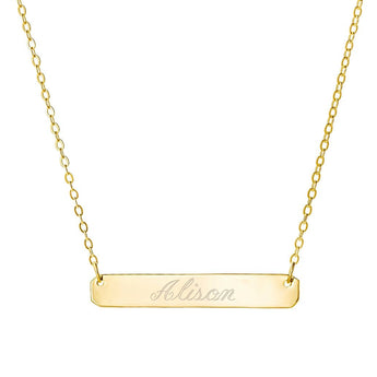 Engravable Gold Bar Necklace 1.5 inch Pendant tiny center name bar in 18k Yellow Gold Plated 925 Sterling Silver - My Boho Jewelry