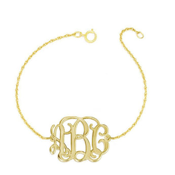 "Personalized gold Monogram Bracelet - 1"" custom 3 Initials link Bracelet, Initial Monogram Bracelet in 18k yellow gold plated 925 silver - My Boho Jewelry"