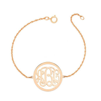 "Personalized gold Monogram Bracelet - 1"" custom 3 Initials link Bracelet, Initial Monogram Bracelet in 18k rose gold plated 925 silver - My Boho Jewelry"