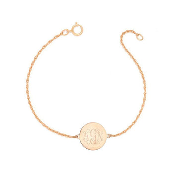 "Personalized gold Monogram Bracelet - 1/2"" custom 3 Initials link Bracelet, Initial Monogram Bracelet in 18k rose gold plated 925 silver - My Boho Jewelry"