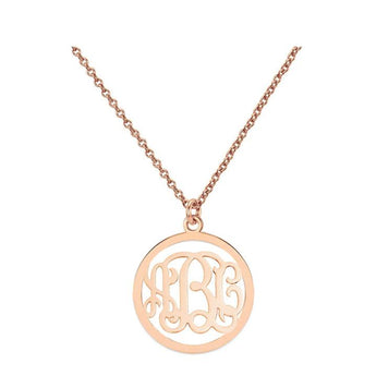 "Initials monogram necklace - 1"" any initial rose gold monogram necklace in 18k rose gold plated 925 sterling silver - My Boho Jewelry"