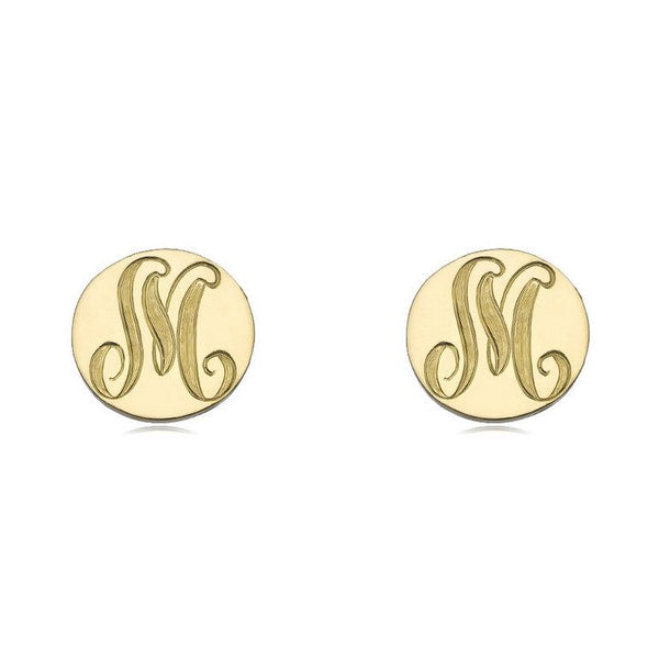 Disc earrings, Initial earrings, alphabet earrings, letter earrings, 18k yellow gold plated 925 sterling silver personalized stud earrings - My Boho Jewelry