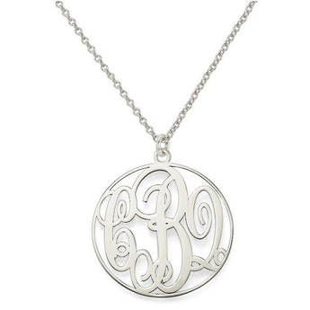"Initials monogram necklace - 1"" any initial silver monogram necklace in 925 sterling silver - My Boho Jewelry"