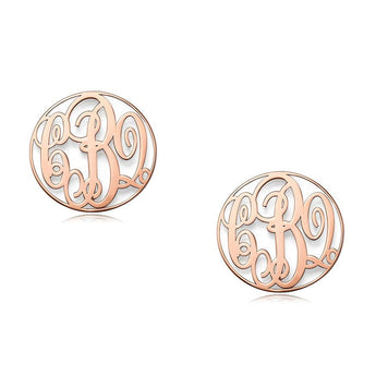"Block 3/4"" monogram earrings, personalized earrings, 18k rose gold plated 925 sterling silver custom made 3 initials stud earrings - My Boho Jewelry"
