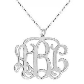 3 Initials monogram necklace - 1.25 inch any initial silver monogram necklace in 925 sterling silver - My Boho Jewelry