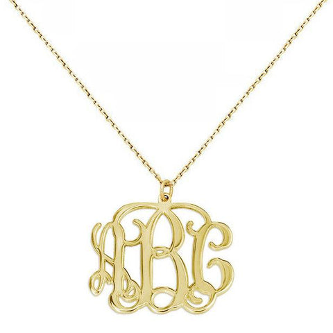 3 Initials Monogram necklace - 1 inch any initial Gold monogram necklace in 18k yellow gold plated 925 sterling silver - My Boho Jewelry