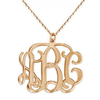 3 Initials monogram necklace - 1.25 inch any initial rose gold monogram necklace in 18k rose gold plated 925 sterling silver - My Boho Jewelry
