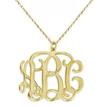 3 Initials Monogram necklace - 1.25 inch any initial Gold monogram necklace in 18k yellow gold plated 925 sterling silver - My Boho Jewelry