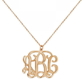 3 Initials monogram necklace - 1 inch any initial rose gold monogram necklace in 18k rose gold plated 925 sterling silver - My Boho Jewelry