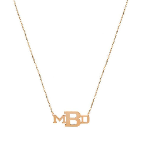 15adb9e5f Nameplate necklace - 3 initials silver personalized monogram necklace in  18k rose gold plated 925 sterling