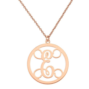 "Initials monogram necklace - 1"" any initial silver monogram necklace in 18k rolse gold plated 925 sterling silver - My Boho Jewelry"