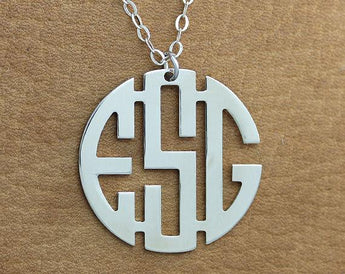 Monogram Necklace -  1.5 inch Personalized Circle Monogram Necklace - Silver Monogram Necklace - Block Font - My Boho Jewelry
