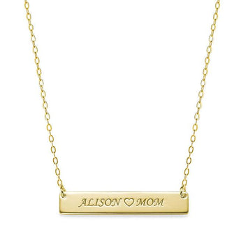 Engravable Bar , two name nameplate w heart, 1.25 inch name bar pendant in 18k yellow gold plated 925 Sterling Silver, Love mom name bar - My Boho Jewelry
