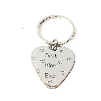 Guitar Pick Keychain - Best Mom Ever - Hand stamped Key chain - Sterling Silver - My Boho Jewelry