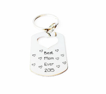 Best Mom Ever - Key chain - Sterling Silver Tag Keychain - Hand stamped Heart Cutout tag - My Boho Jewelry