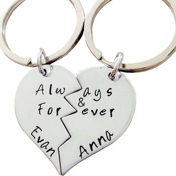 Always & For ever Keychain- Hand Stamped Broken heart Keychain Set - Couple Key Chain - Sterling Silver - My Boho Jewelry