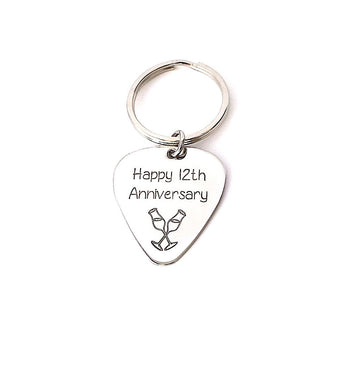 Happy Anniversary Guitar Pick Keychain - Sterling Silver Guitar Pick - Gift For Couples - My Boho Jewelry