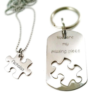Missing piece - Personalized Necklace and Keychain Set - Puzzle Piece cut out - Couples Gift - My Boho Jewelry