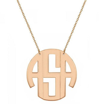 Block monogram necklace - 2 inch 3 initials rose gold monogram necklace in 18k rose gold plated 925 sterling silver - My Boho Jewelry