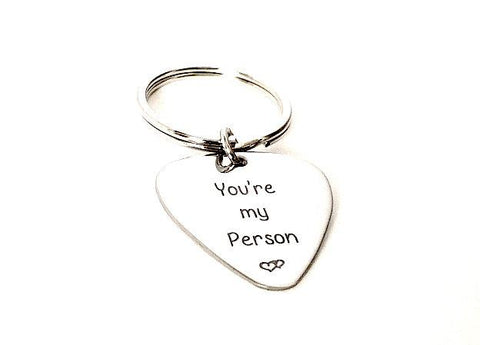 You're my person - Guitar Pick Keychain - Handstamped Custom Key chain - Personalized Valentine's Day Gift - - My Boho Jewelry