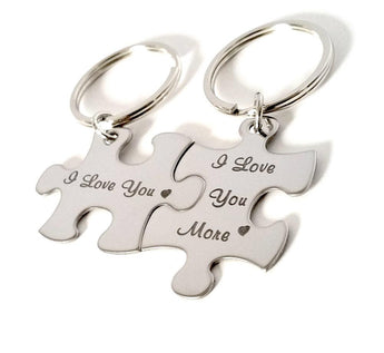 Sterling Silver Couples Keychains Puzzle Piece Keychains - I love you / I love you More - My Boho Jewelry