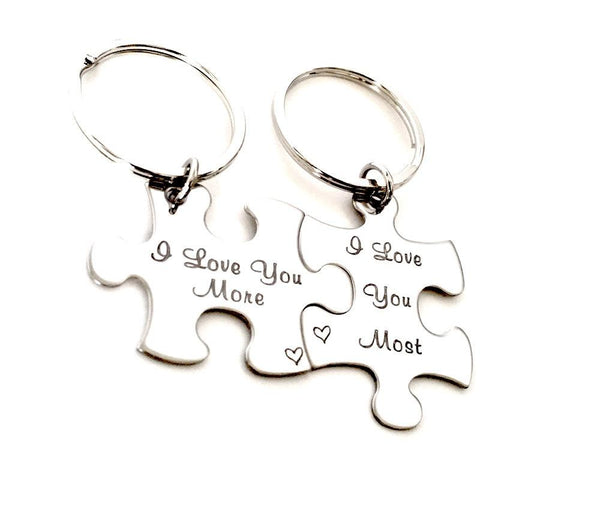 Custom Sterling Silver Puzzle Piece Keychain's - Personalized Couple's Keychains - My Boho Jewelry