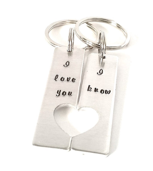 "Hand Stamped Star Wars Inspired ""I love you - I know"" Key chains Valentine's Day - Gift for Love , Boyfriend , Girlfriend and Bestfriend - My Boho Jewelry"