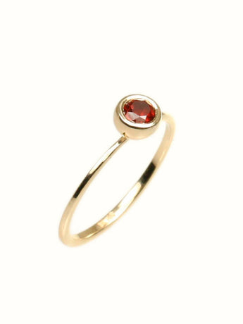 Solitaire Garnet Ring, Solitaire Engagement Ring, Red Garnet Engagement Ring Gemstone Engagement Ring Bezel Engagement Ring 14 K Gold Rong - My Boho Jewelry
