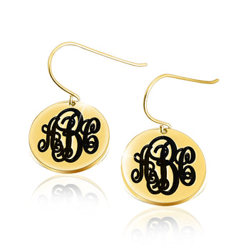 14k Solid Gold English Style Monogram Earrings - My Boho Jewelry