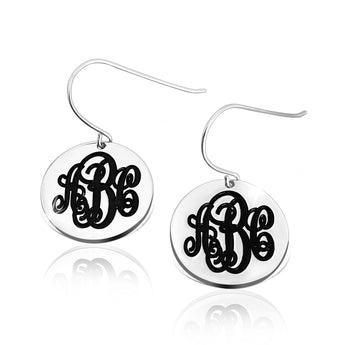 Sterling Silver English Style Monogram Earrings - My Boho Jewelry