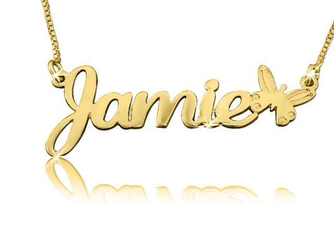 Butterfly Charm Gold Name Necklace - My Boho Jewelry